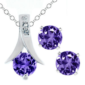 2.25 Ct Round Purple Amethyst .925 Silver Pendant and Earrings Set 18
