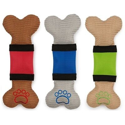 Ancol Bright Stripe Bone Dog Toy with Squeakers Hardwearing Outer Fun Fetch Play