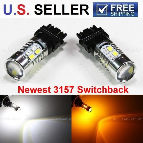 2X 3157 White/Amber Switchback Bright 5730 20-SMD LED Turn Signal Light Bulbs