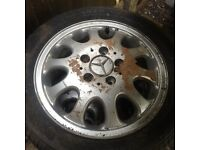Mercedes 15 inch 4 alloy wheels with tyres