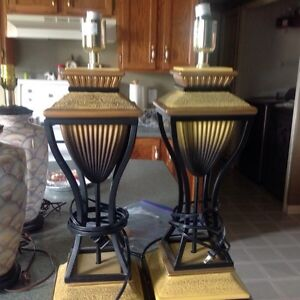2 gold lamps no shades