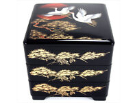 """Japanese Jubako Lacquer Box 2-Tiered 5-1//2/""""H Vermilion Pine //Made in Japan"""