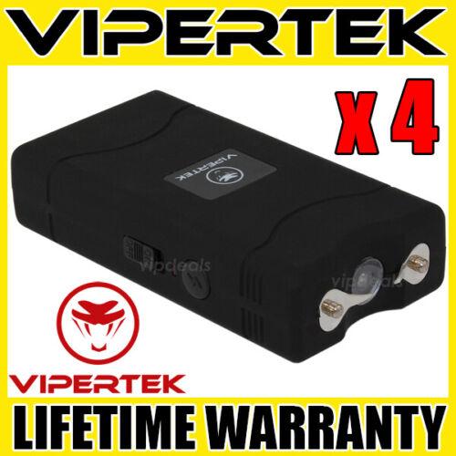 (4) VIPERTEK BLACK VTS-880 Mini Stun Gun Self Defense Wholesale Lot
