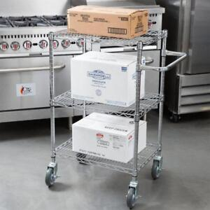 "18"" x 24"" 3 level chrome utility cart with handle - 6 SIZES  AVAILABLE  -FREE SHIPPING"