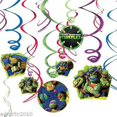 TEENAGE MUTANT NINJA TURTLES HANGING SWIRL DECORATIONS ~ Birthday Party Supplies - Ninja Turtles Party Decorations