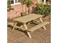 Brand New Rowlinson Wooden Picnic Table 1.5 x 1.5m