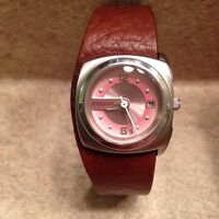 Pink and Brown Leather Women's Fossil Watch