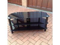 TV black glass unit stand