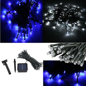 Blue/White LED Solar Powered String Fairy Lights Christmas Outdoor Party eBay