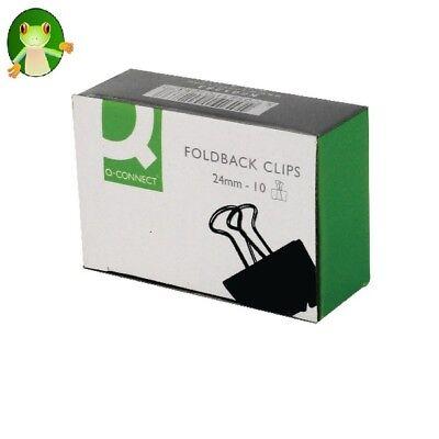 Q-CONNECT 24mm BLACK FOLDBACK CLIP - BOX 10