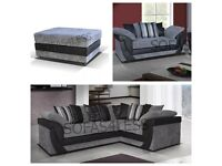 Corner sofa, 2 seater and footstool, grey and black, less than a year old