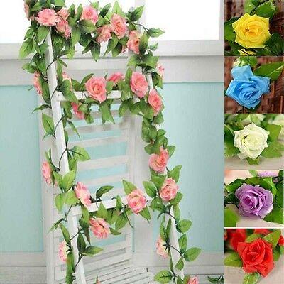 Hanging Artificial Fake Silk Rose Flower Ivy Vine Garland Wedding Home DIY Decor - Rose Garland