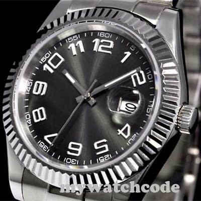 40mm parnis gray dial coin Edge Bezel date sapphire glass automatic mens watch