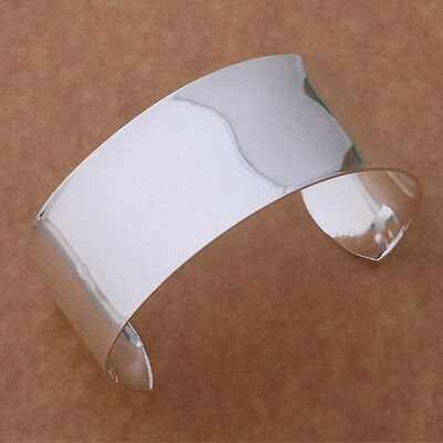925 sterling silver Fashion Smooth wide cuff Beautiful Bracelet wedding women