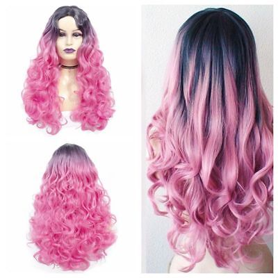 US Women Long Synthetic None Lace Front Ombre Wig Long Curly Pink Cosplay - Adult Curly Pink Wig