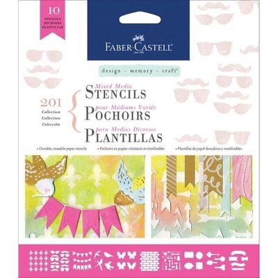 Faber-Castell - Design Memory Craft - Mixed Media Stencils - Set of 10 - Motif, used for sale  Shipping to India