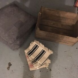 Wooden fruit/veg basket, floor mats, duck feather cushions