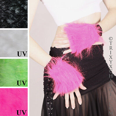 Pink Fur Arm Bands Black Fuzzy Gloves Wristbands Cuffs Blacklight Anime Edm 1042