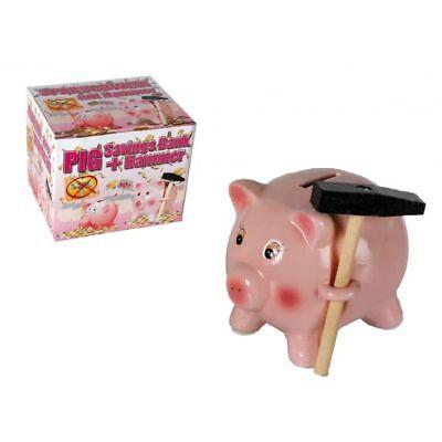Hucha diseño Cerdo de Ceramica con Martillo 8 x 9 cm, guarda tus ahorros, regalo