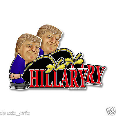 "Donald TRUMP PENCE Anti Hillary Bumper Stickers Decals Peeing (2 PACK) 7""x5"""