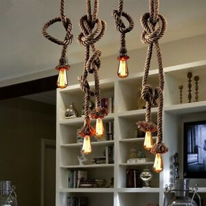 Rustic Industrial Diy Rope Chandelier String Pendant Light