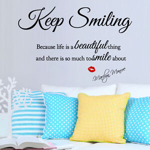 Marilyn Monroe Keep Smiling Beautiful Wall Quote Stickers, Wall Decals, Wall Art