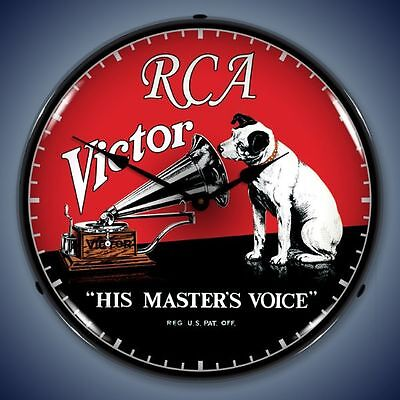 NEW RCA VICTOR RADIO RETRO ADVERTISING BACKLIT LIGHTED CLOCK - FREE SHIPPING*