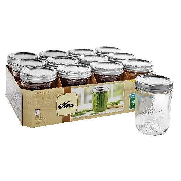 Kerr Wide Mouth Canning Mason Jars Pint Lids & Bands Clear G