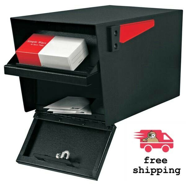 Mail Boss Black Mailbox Parcel Manager Locking Post-Mount High Security Lock