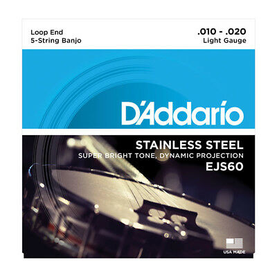 D'Addario EJS60 5-String Banjo, Stainless Steel, Light, 10-20