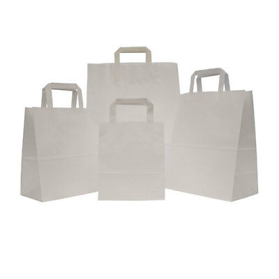 White Sos Takeaway Kraft Paper Carrier Bags With Flat Handles Cheapest