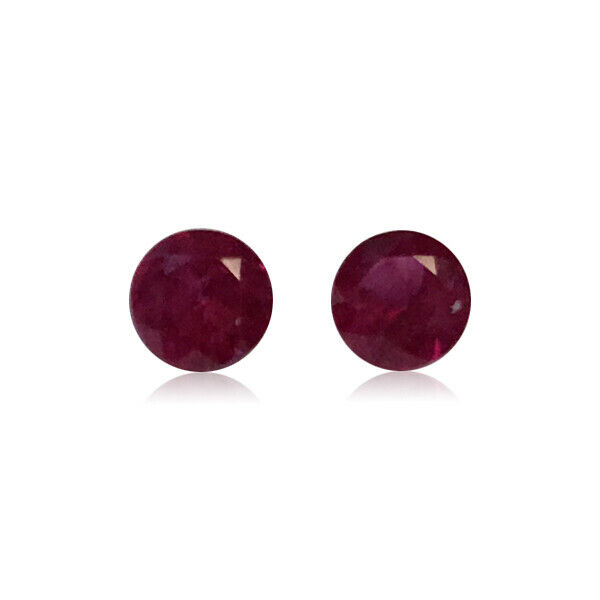 0.47-0.58 Cts of 3.7x3.7 mm AAA Round Diamond Cut Ruby ( 2 pcs ) Loose Gemstones