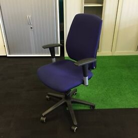 Purple Operators Chair with Adjustable Arms