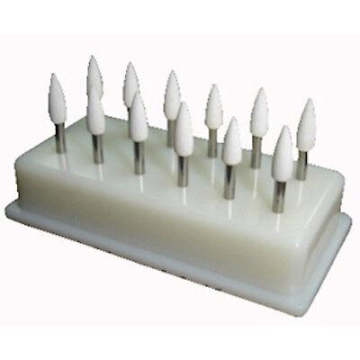 Dental White Polishing Stones - Flame Fl2 Fg - Arkansas Stone - Meta - 12 Pieces