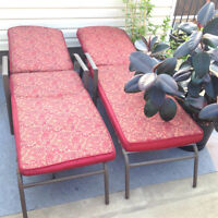 Two beautiful adjustable patio loungers