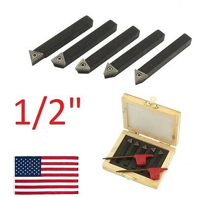5 Pc 12 Lathe Indexable Carbide Insert Turning Tooling Bit Holder Set
