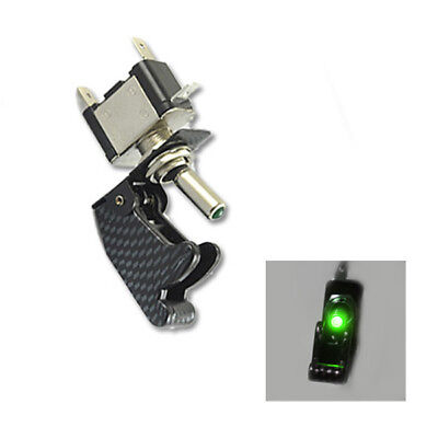 12v Carbon Fiber Cover Car Motor Green Led Light Spst Toggle Switch Control Sl