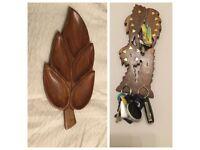 Retro Wood Leaf Snack Serving Tray/ Wooden/ Gold Key Holder