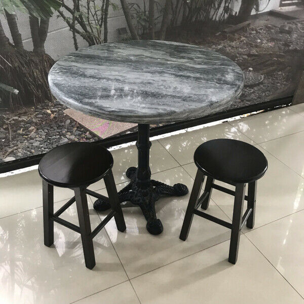 Marble table with 2 Kopitiam stool chairs