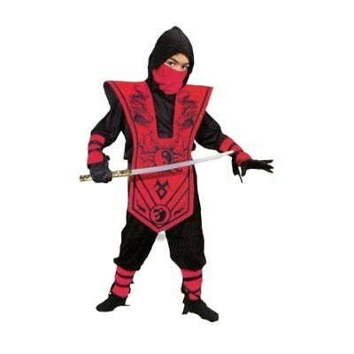 Dragon Ninja Halloween Costume (Boys Red Dragon NInja 7pcs Costume Complete XL (14-16) Warrior Outfit)
