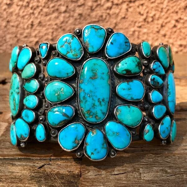 1930s Huge WIDE Zuni Cluster Green & Blue Turquoise Old Silver Row Cuff Bracelet