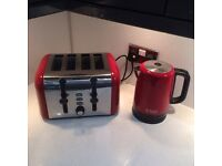 Red and silver kettle and 4 slice toaster