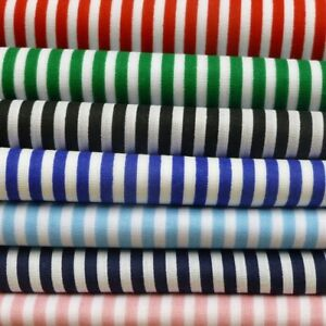 3mm-Candy-Stripes-On-White-Craft-Dress-Polycotton-Fabric-Poly-Cotton