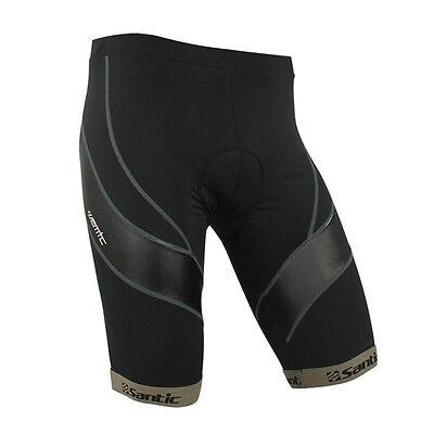 Santic Black Bicycle Cycling Short 4D Coolmax Padded Bike Shorts Size S-XXXL