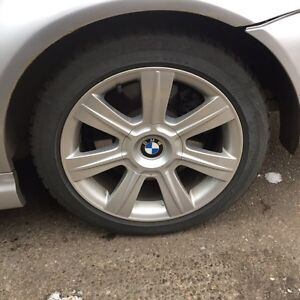 BMW winter tires+wheels 225 45 R17 front&235 45 R17 rear&1 spare Strathcona County Edmonton Area image 1