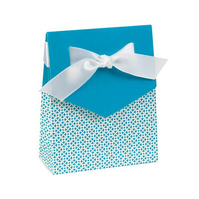 Aqua Favor - NEW HBH Turquoise & White Tent Favor Boxes 25 pc.