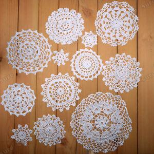 24 x Vintage-Style Doilies Coasters Lace Motifs size 5-19CM  white and beige