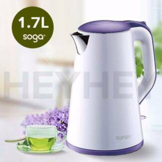 Slim White 18/10 Food Grade Stainless Steel Electric Kettle 1.7L