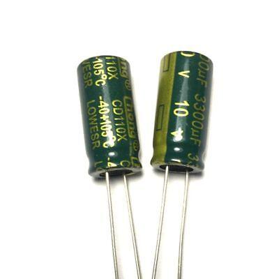 10pcs 10v 3300uf 10volt 3300mfd 105c Aluminum Electrolytic Capacitor 10mm20mm
