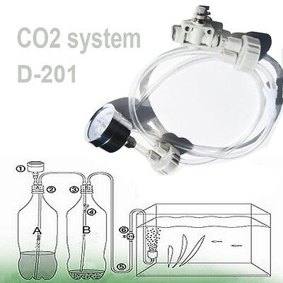 Co2 Tube - DIY CO2 system Kit D201 tube valve guage bottle cap for aquarium moss plant US